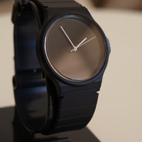 Custom Casio Satin Black - unisex watch - women watch  - mens watch - minimalist watch - for simple dress - black dial - casio watch
