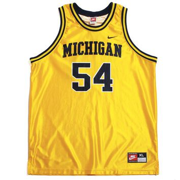 University of Michigan #54 Tractor Traylor Nike Basketball Jersey Yellow (XL)