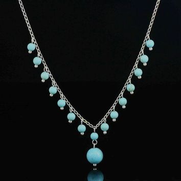 Turquoise lariat necklace Bridesmaids gift Free US shipping handmade Anni Designs