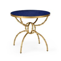 Bamboo Antique Gold Side Table Lapis