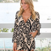 Black and Taupe Printed Romper with Long Sleeves