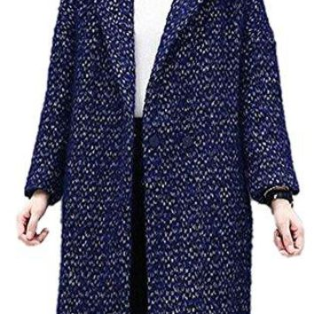 Women's Navy Lapel Double Breasted Outwear Plus Size Thick Wool Trench Coat