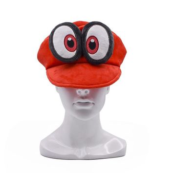 Super Mario party nes switch Anime  Big Eye Odyssey Cappy Red Hats  Bros Soft Unisex Costume Halloween Props Adults Kids AT_80_8