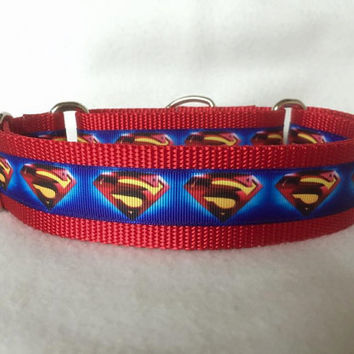 "Nylon w/Superman Ribbon Leash, Martingale or Quick Release Collar Ribbon Collar 1"" Martingale 1.5"" Martingale"