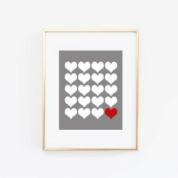 "Valentine's Day Decor ""Valentine's Day Hearts"" Home Decor Prints and Posters Typography Art"
