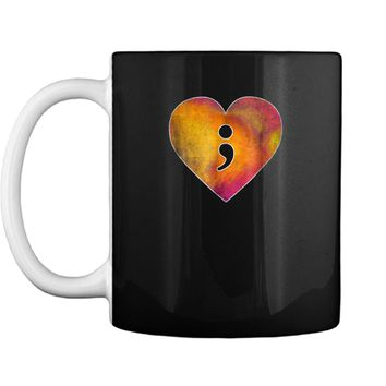 Semicolon Heart Mental Health Suicide Awareness  Gift Mug