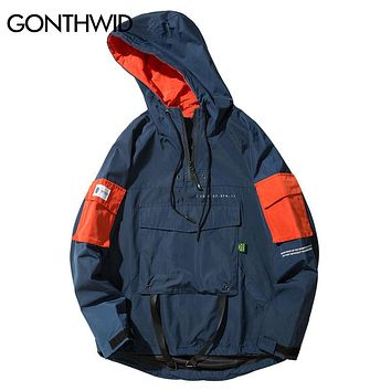 GONTHWID Front Pocket Pullover Jackets Men 2017 Autumn Half Zipper Hoodie Jacket Male Hip Hop Casual Windbreaker Coat Streetwear