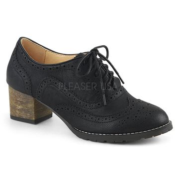 Pin Up Couture Russell Black Wingtip Oxford Heels