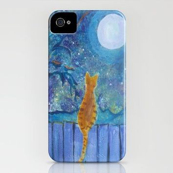 Cat on a fence in the moonlight iPhone Case by Paintings by gretzky | Society6