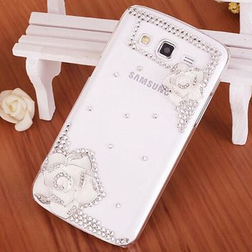 Luxury 3D Flower bling Crystal diamond Mobile phone Shell Back Cover Hard Case For Samsung Galaxy Core Prime G3608 G3606 G360