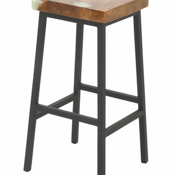 "Benzara Teak Resin Metal Bar Stool 16""w 30""h"