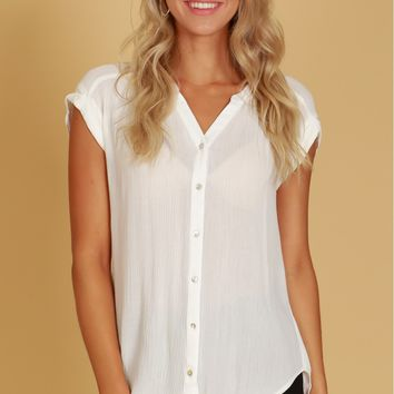 Cuffed Sleeve Button Top Off White