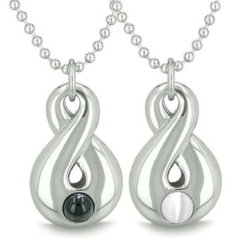 Infinity Love Couple Yin Yang Eternity Powers Simulated Black Onyx White Cats Eye Pendant Necklaces