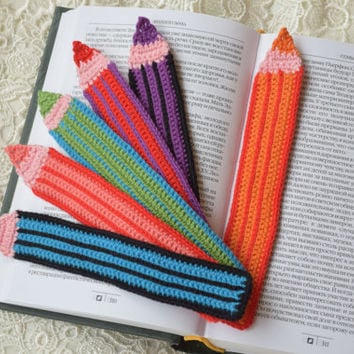 Crochet bookmark Crayons crocheted bookmarks Handmade crochet bookmark book lover gift Kids bookmark Girlfriend gift Boyfriend gift