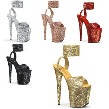 """Flamingo 891G Wide Ankle Cuff Glitter Shoes - 8"""" High Heels"""