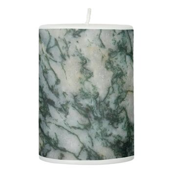 Green Tree Agate Pattern Pillar Candle