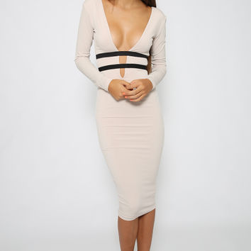 Nookie - Bellissima Long Sleeve Dress - Nude