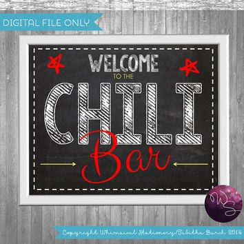 Chili Bar Party Food Table Sign (Printable File Only); Printable Party Signs; Party Signs Framable DIY