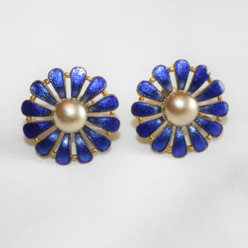 Vintage Blue Enamel Earrings Pearl Flower 1960s Estate  Jewelry