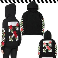 Hats Hoodies Stripes Floral Couple Zippers Jacket [85031944204]