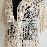 Size extra large lace crochet jacket in creme 100% cotton