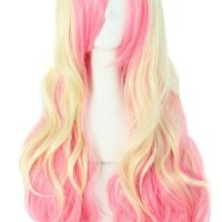"MapofBeauty 24"" Wavy Multi-Color Lolita Cosplay Wig Party Wig (Pink/ Beige)"
