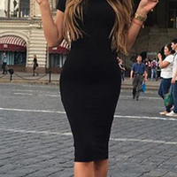 Glitter Slip Sexy Solid Color Bodycon Dress