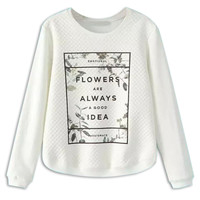 White Letter Printed Long Sleeve Sweatshirt