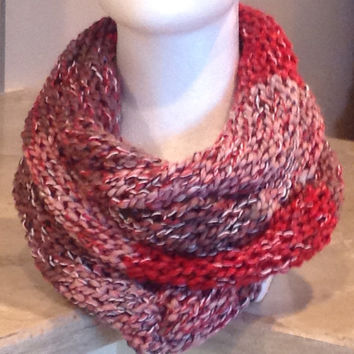 Pink and Red Infinity Eternity Circle Knitted Winter Scarf