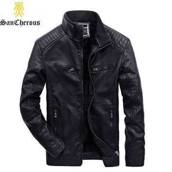 Trendy 2018 Winter Casual Multi-pocket Business Style Leather Jacket Lining Plus Velvet Thick Men Windbreak Winter Jacket AT_94_13