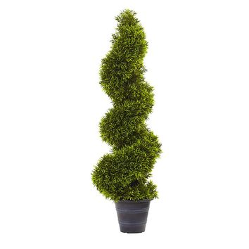 Artificial Silk Tree -3 Ft Grass Spiral Topiary Tree With Deco Planter