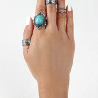 Rhinestone and Turquoise Ring Set