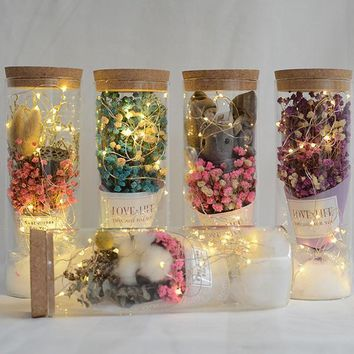 LED Dried Flower Decoration Dry Flower Vase Dry Flower Gift Dried Flower Bouquet Wish Rabbit Flower Tube