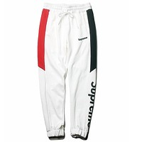 Supreme Tide brand color matching autumn and winter jogging sports pants White