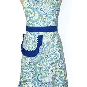 Blue Paisley Full Apron - Adult