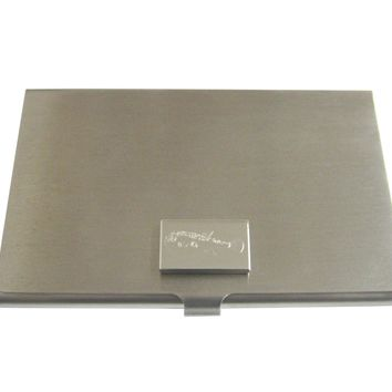 Silver Toned Etched Puffer Fish Business Card Holder