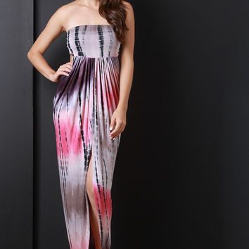 Strapless Tie Dye Open Back Draped Maxi Dress