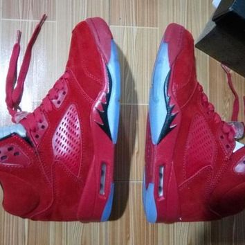 Nike Air Jordan 5 Retro RAGING BULL RED suede Basketball Shoes With Box
