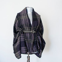 Handmade Plaid Blanket Scarf - Tweed - Purple Creme Black - Winter Autumn Scarf - Men Women Unisex XXL Scarf