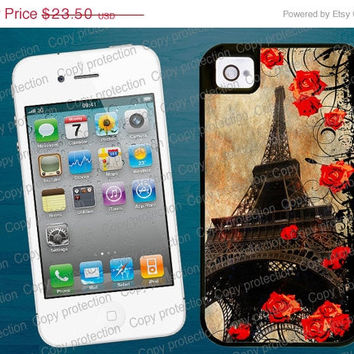 SALE Eiffel Tower Red Roses iPhone tough case - Vintage iPhone 4, iPhone 5 case, 2 piece rubber lining Made in USA