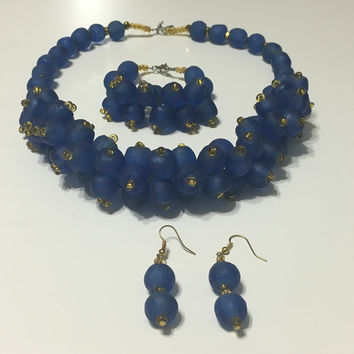 Kyerewaa handmade African trade beads necklace with a matching bracelet & earrings