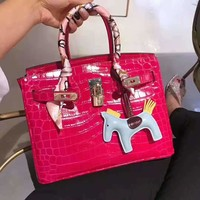 Hermes Newest Fashion Women Shopping Leather Handbag Tote Shoulder Bag Rose Red