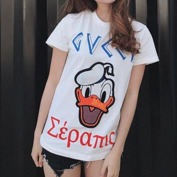 c62118850899 GUCCI Donald Duck Embroidery men and women Pure cotton short-sle. Item  Type: Tops ...