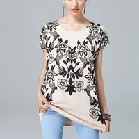 Vintage Birds And Flowers Print Loose T-shirt