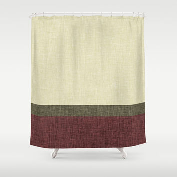 Tri Color Geometric Stripe Olive Green Dusty Red Wine Ecru Cream Burlap Texture Shower Curtain by Natural Design