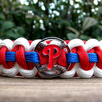 "Philadelphia Phillies Team Paracord Bracelet with an Officially Licensed MLB Charm For 7.5"" Wrist Measurement"