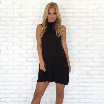 Take Charge Tunic Dress in Black