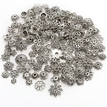 4-15mm 150pcs/lot  Zinc Alloy Antique Silver plated Bead Caps for Jewelry Findings Making End Caps