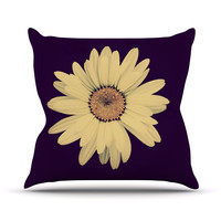 "Robin Dickinson ""Half Crazy"" Black Yellow Throw Pillow"