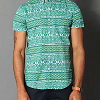 Reverse Tribal Print Shirt Green X-Large